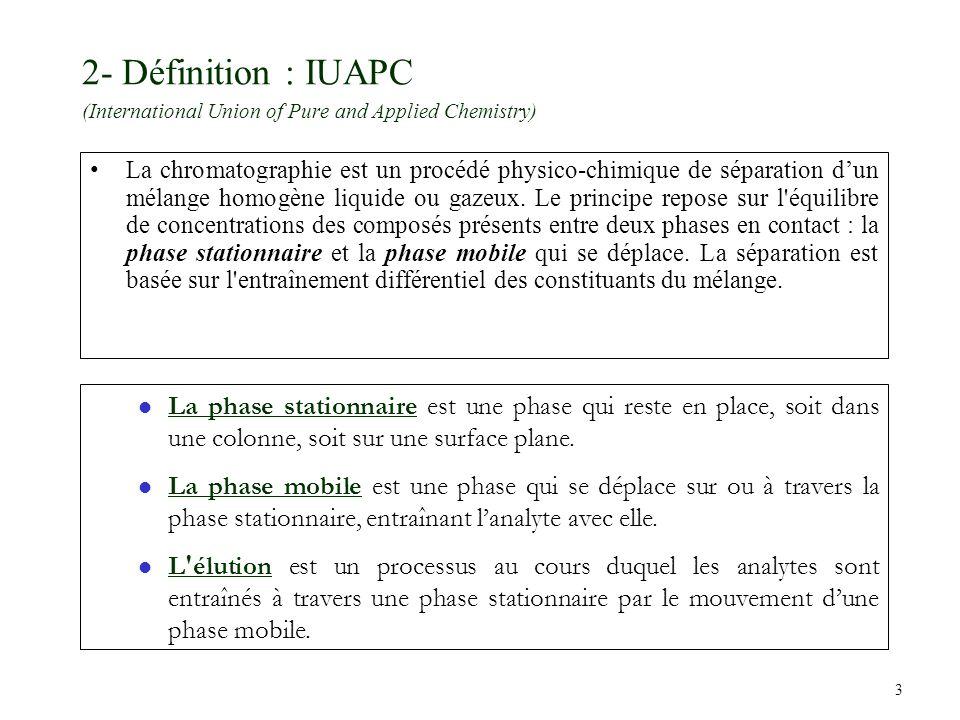 3 2- Définition : IUAPC (International Union of Pure and Applied Chemistry) La chromatographie est un procédé physico-chimique de séparation dun mélan