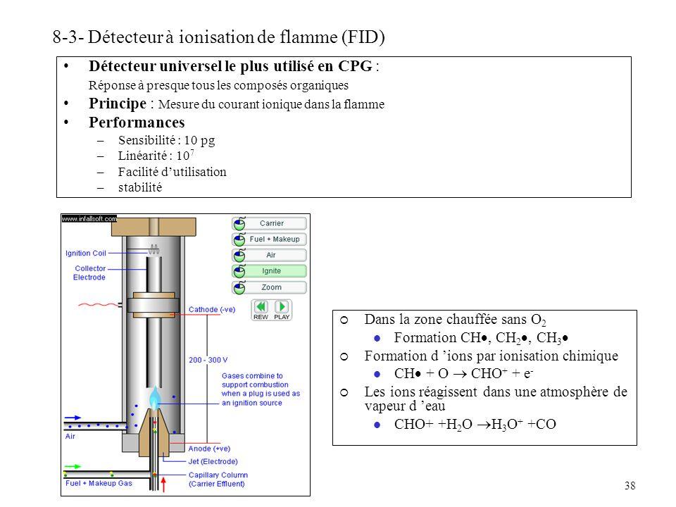 38 8-3- Détecteur à ionisation de flamme (FID) Détecteur universel le plus utilisé en CPG : Réponse à presque tous les composés organiques Principe :