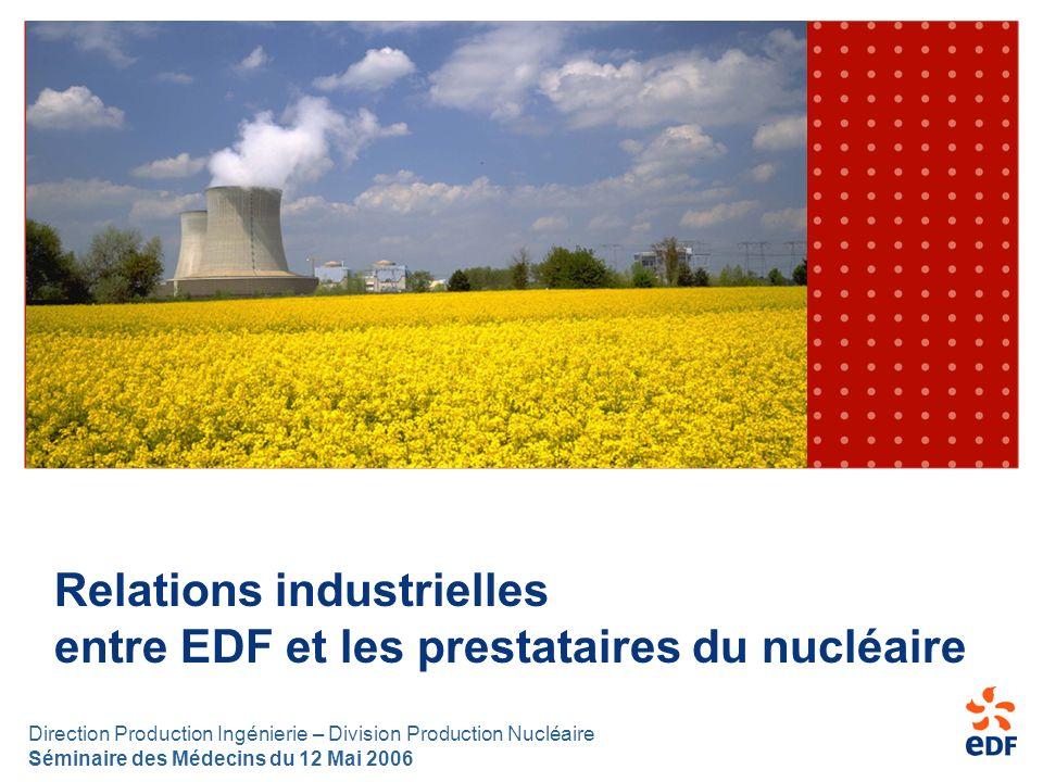 Direction Production Ingénierie – Division Production Nucléaire Séminaire des Médecins du 12 Mai 2006 Relations industrielles entre EDF et les prestat