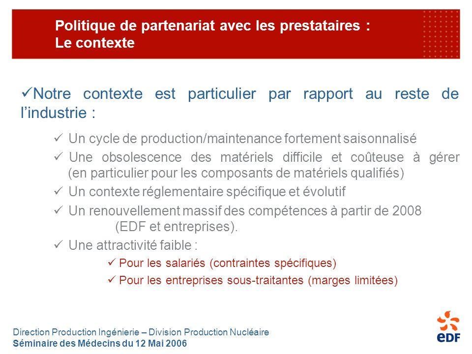 Direction Production Ingénierie – Division Production Nucléaire Séminaire des Médecins du 12 Mai 2006 Politique de partenariat avec les prestataires :