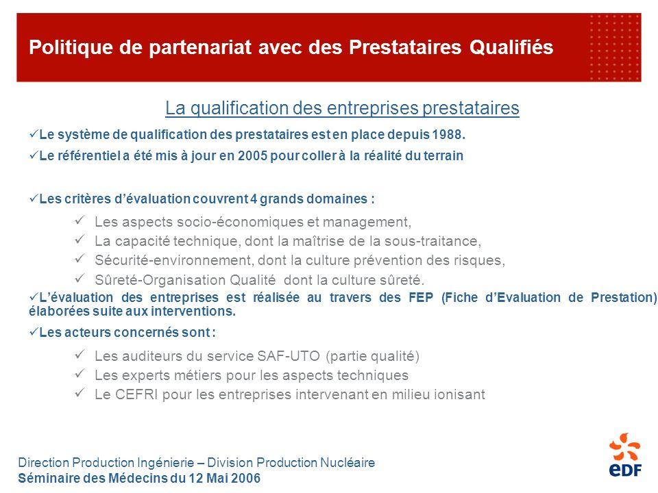 Direction Production Ingénierie – Division Production Nucléaire Séminaire des Médecins du 12 Mai 2006 Politique de partenariat avec des Prestataires Q
