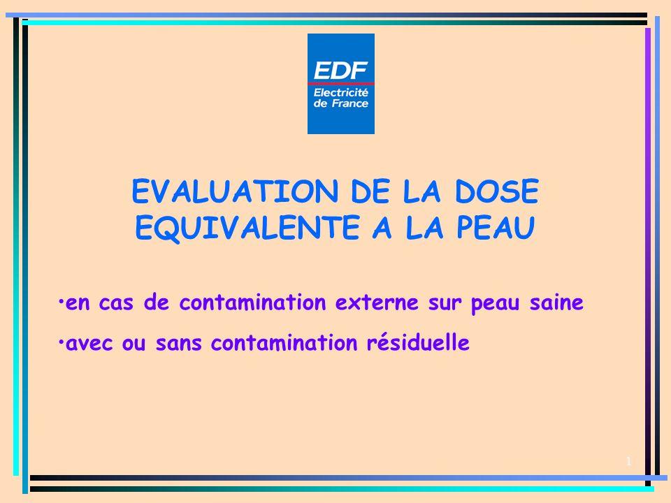 EVALUATION DE LA DOSE EQUIVALENTE A LA PEAU 1 en cas de contamination externe sur peau saine avec ou sans contamination résiduelle