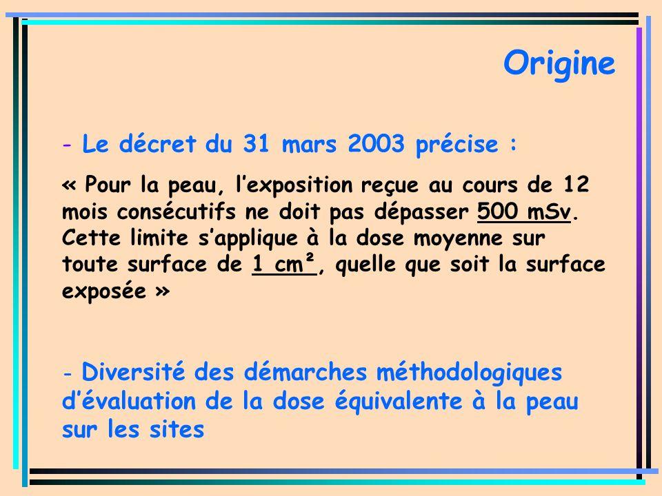 - Le décret du 31 mars 2003 précise : « Pour la peau, lexposition reçue au cours de 12 mois consécutifs ne doit pas dépasser 500 mSv. Cette limite sap