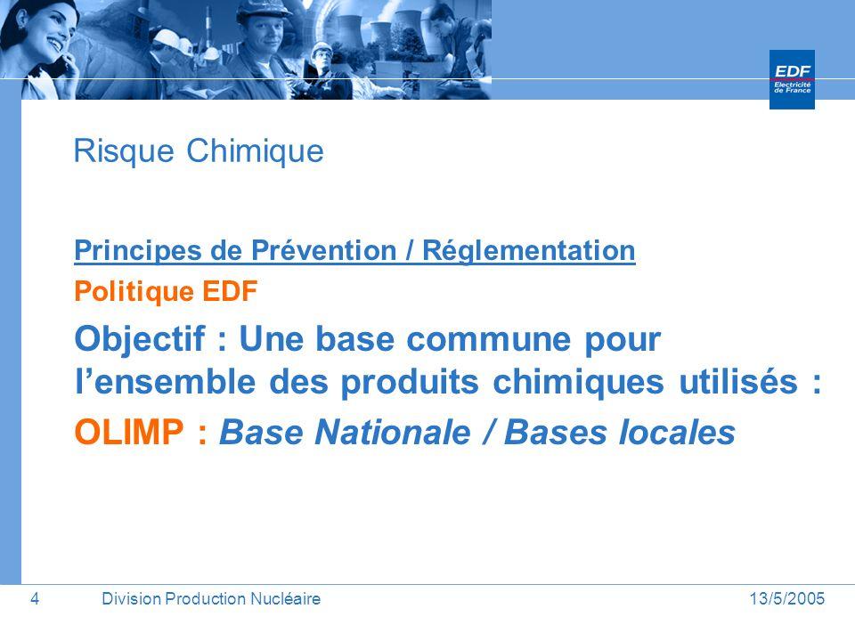13/5/2005Division Production Nucléaire5 Risque Chimique / CMR 1) Établir une liste des CMR commune à lensemble de la Division 54 produits CMR recensés sur 19 unités