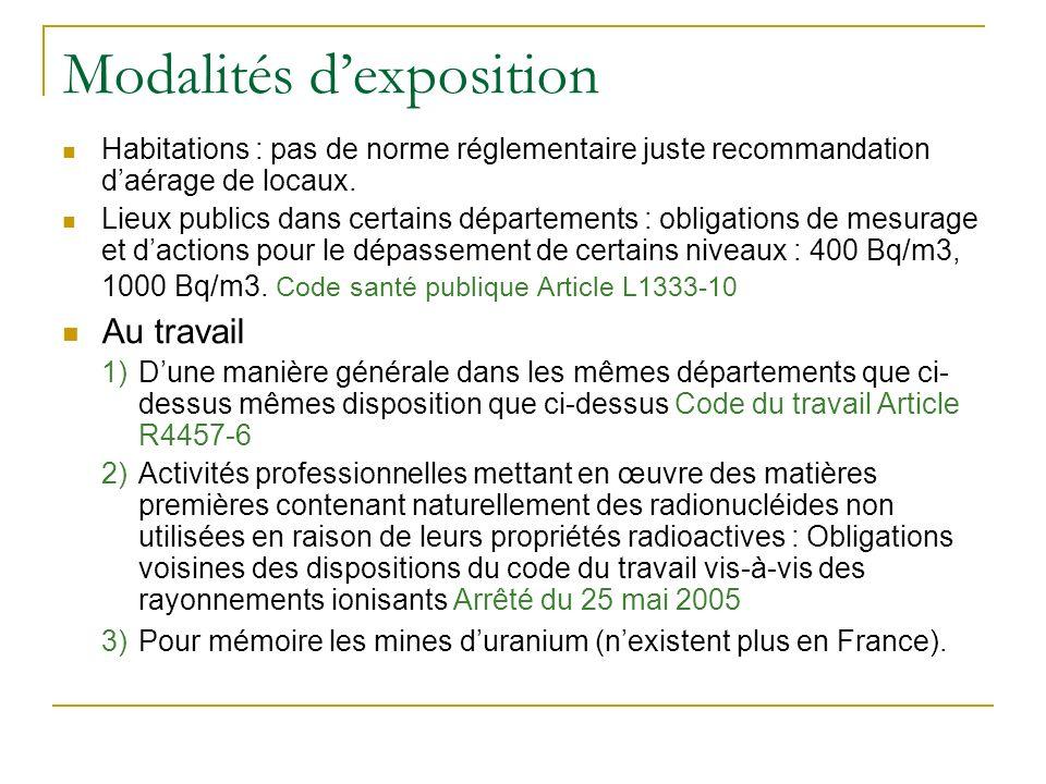Modalités dexposition Habitations : pas de norme réglementaire juste recommandation daérage de locaux.
