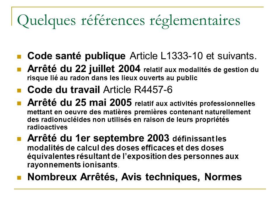 Quelques références réglementaires Code santé publique Article L1333-10 et suivants.
