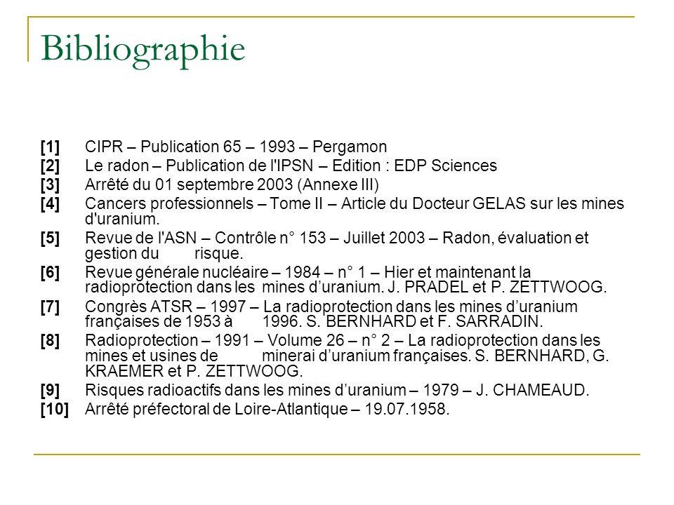 Bibliographie [1]CIPR – Publication 65 – 1993 – Pergamon [2]Le radon – Publication de l IPSN – Edition : EDP Sciences [3]Arrêté du 01 septembre 2003 (Annexe III) [4]Cancers professionnels – Tome II – Article du Docteur GELAS sur les mines d uranium.