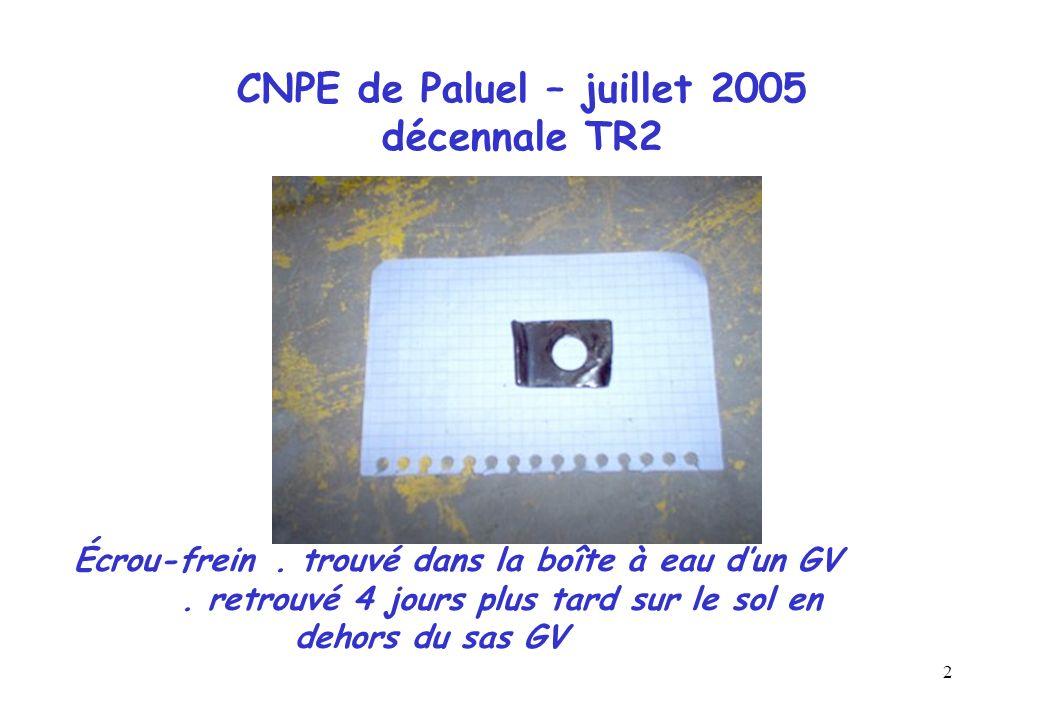 2 CNPE de Paluel – juillet 2005 décennale TR2 Écrou-frein. trouvé dans la boîte à eau dun GV. retrouvé 4 jours plus tard sur le sol en dehors du sas G