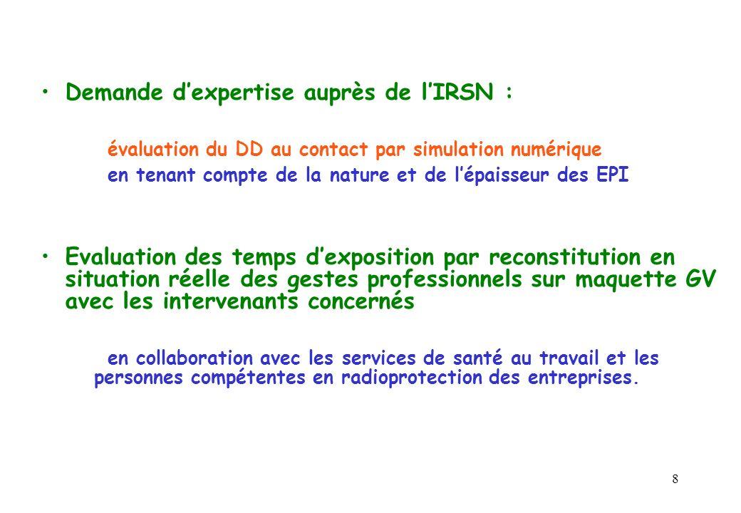 8 Demande dexpertise auprès de lIRSN : évaluation du DD au contact par simulation numérique en tenant compte de la nature et de lépaisseur des EPI Eva