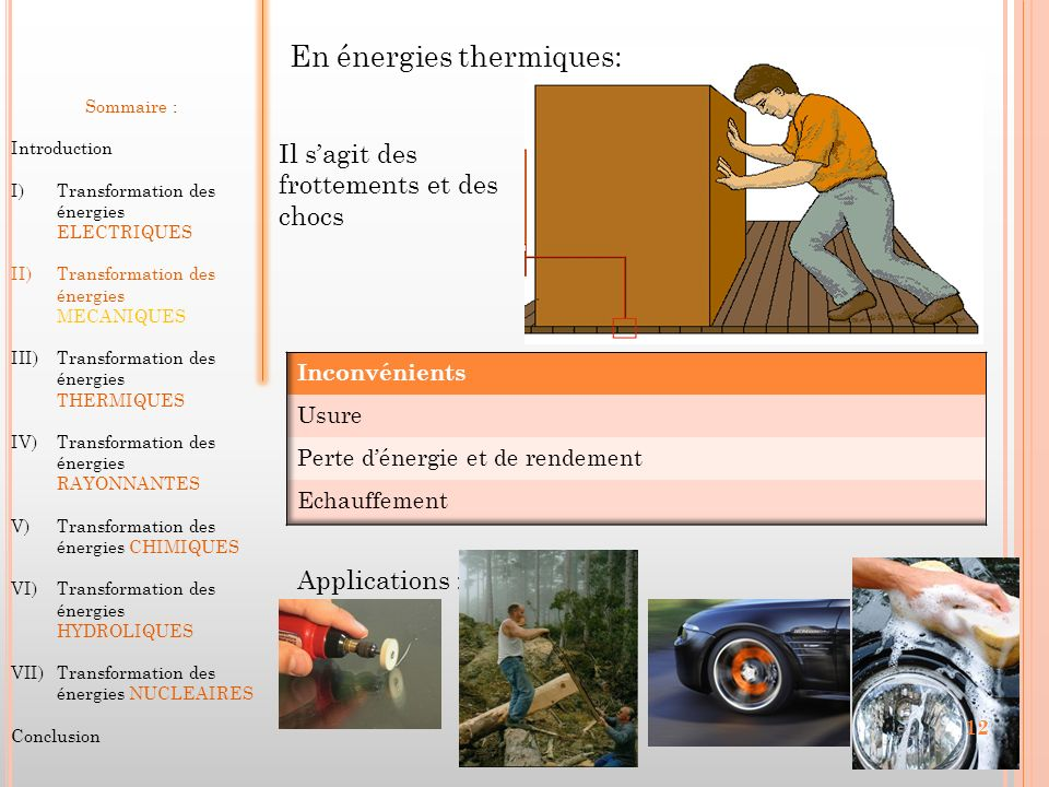 En énergies thermiques: Sommaire : Introduction I)Transformation des énergies ELECTRIQUES II)Transformation des énergies MECANIQUES III)Transformation