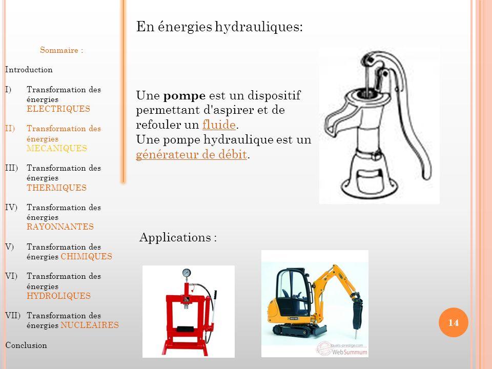 En énergies hydrauliques: Sommaire : Introduction I)Transformation des énergies ELECTRIQUES II)Transformation des énergies MECANIQUES III)Transformati
