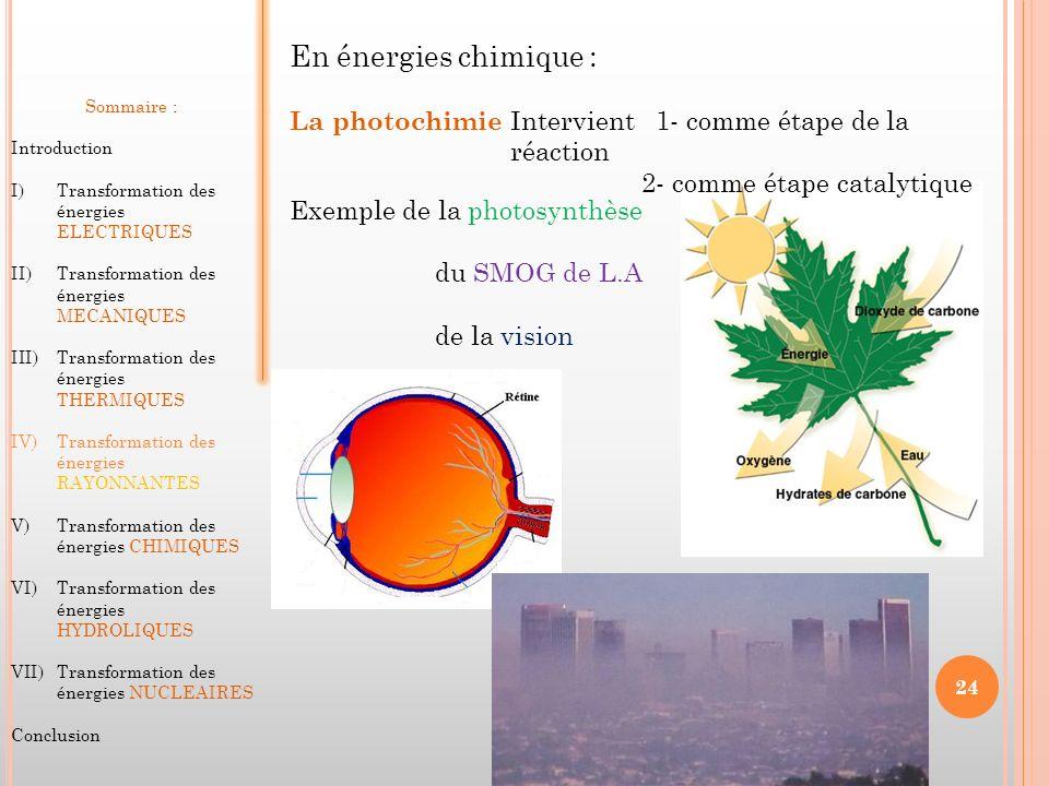 En énergies chimique : La photochimie Intervient 1- comme étape de la réaction 2- comme étape catalytique Exemple de la photosynthèse du SMOG de L.A d