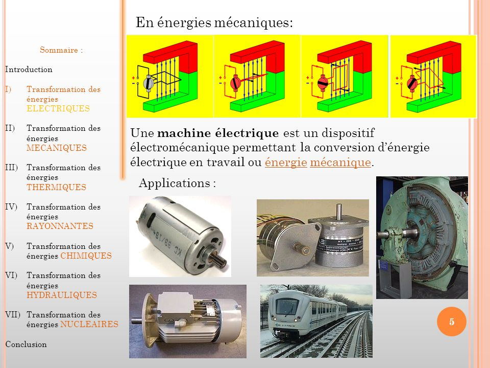 Sommaire : Introduction I)Transformation des énergies ELECTRIQUES II)Transformation des énergies MECANIQUES III)Transformation des énergies THERMIQUES