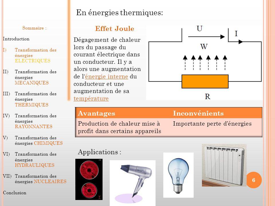 En énergies thermiques: Effet Joule Dégagement de chaleur lors du passage du courant électrique dans un conducteur. Il y a alors une augmentation de l
