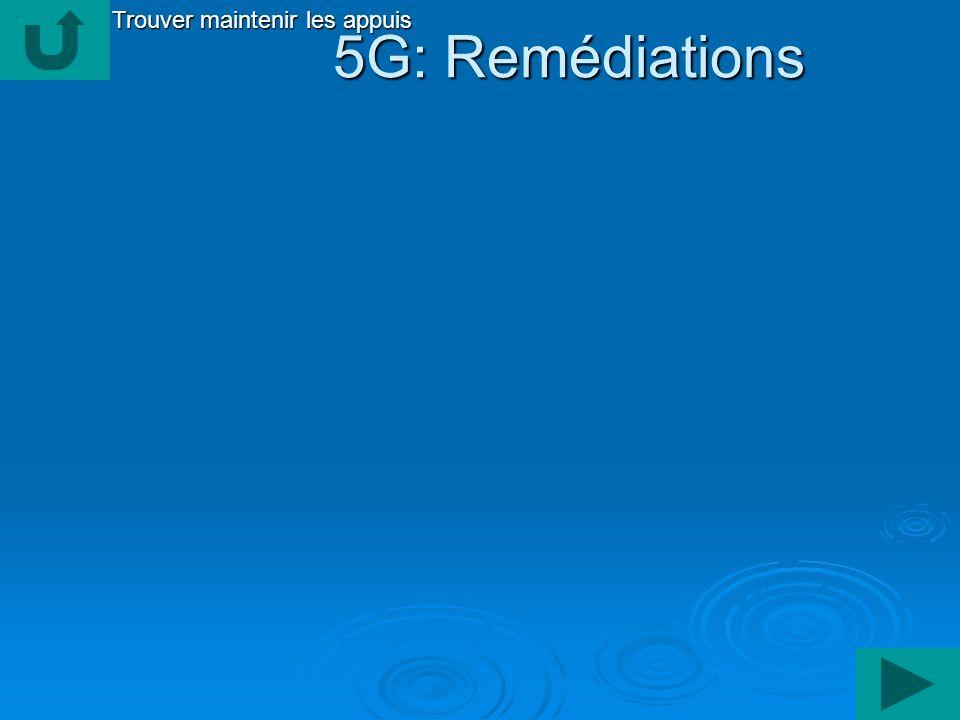 5G: Remédiations 5G: Remédiations Trouver maintenir les appuis