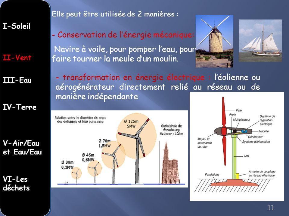 - Conservation de lénergie mécanique: Navire à voile, pour pomper leau, pour faire tourner la meule dun moulin. - transformation en énergie électrique