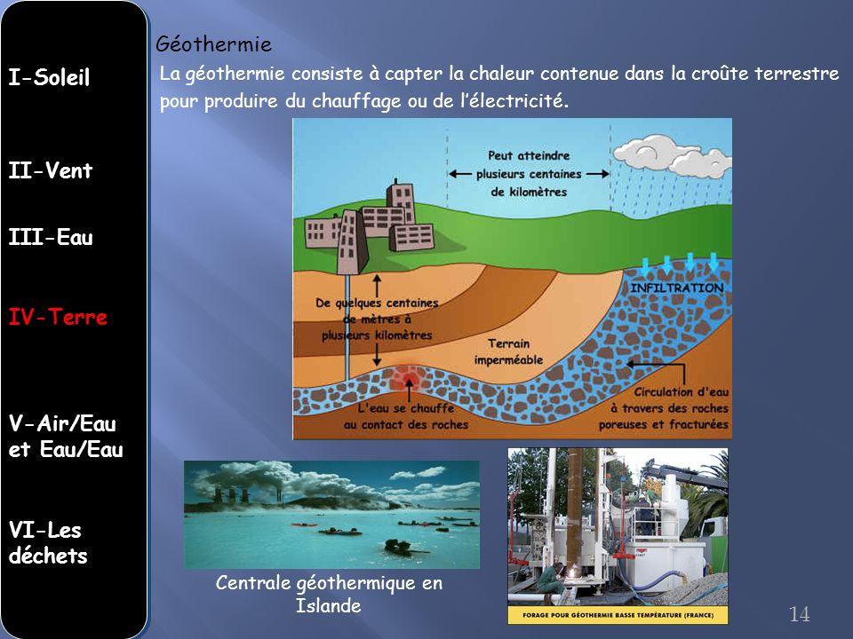Centrale géothermique en Islande La géothermie consiste à capter la chaleur contenue dans la croûte terrestre pour produire du chauffage ou de lélectr