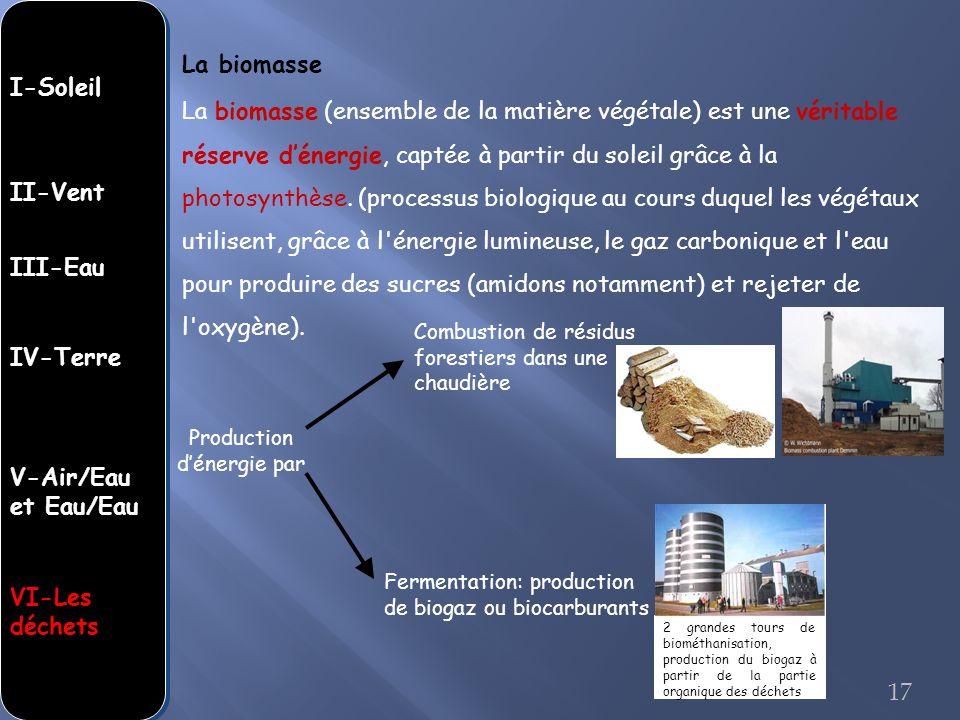 La biomasse (ensemble de la matière végétale) est une véritable réserve dénergie, captée à partir du soleil grâce à la photosynthèse. (processus biolo