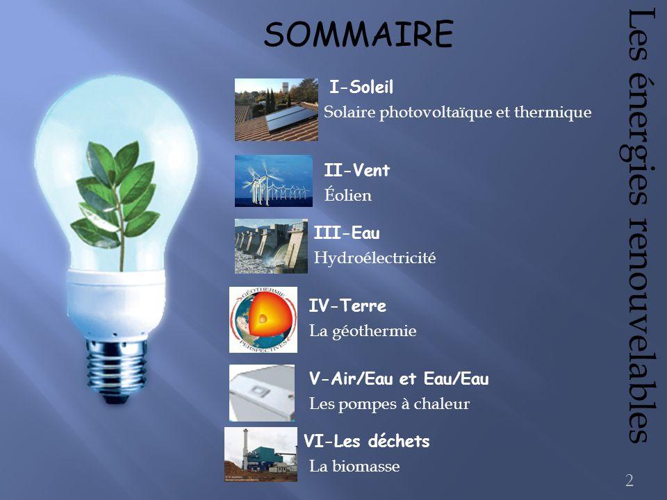 Éolien Solaire photovoltaïque et thermique Hydroélectricité Les énergies renouvelables SOMMAIRE I-Soleil II-Vent III-Eau IV-Terre VI-Les déchets La bi