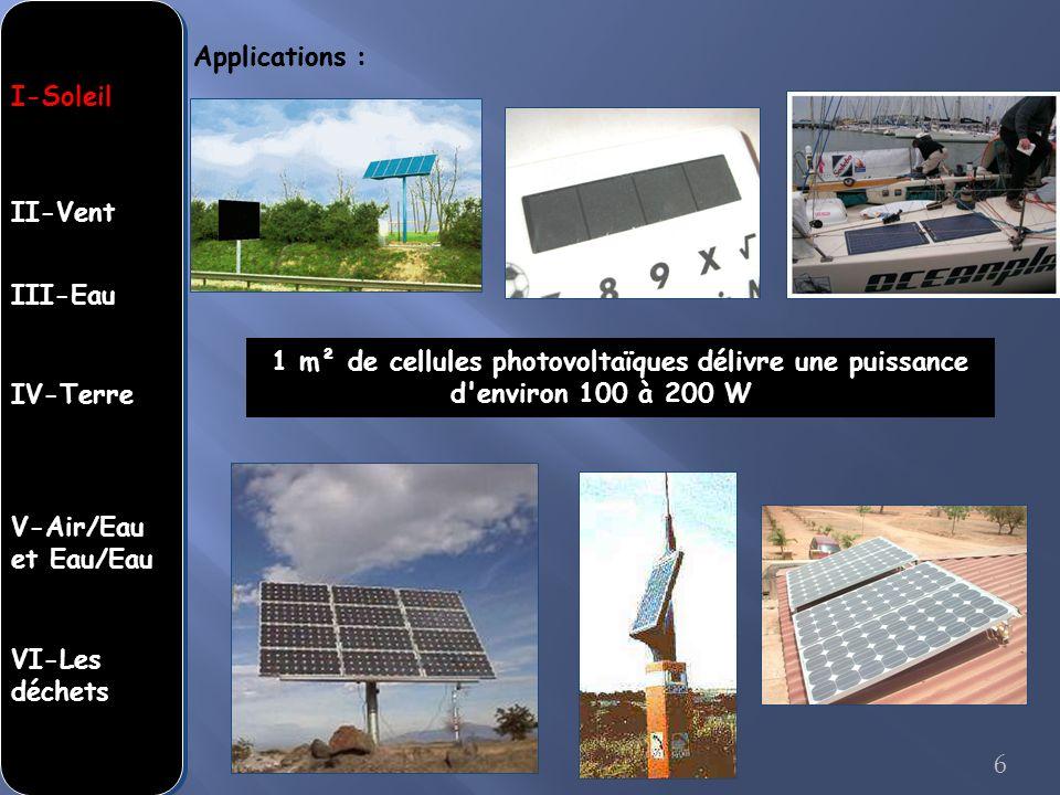 Applications : 1 m² de cellules photovoltaïques délivre une puissance d'environ 100 à 200 WW. 6 I-Soleil II-Vent III-Eau IV-Terre V-Air/Eau et Eau/Eau
