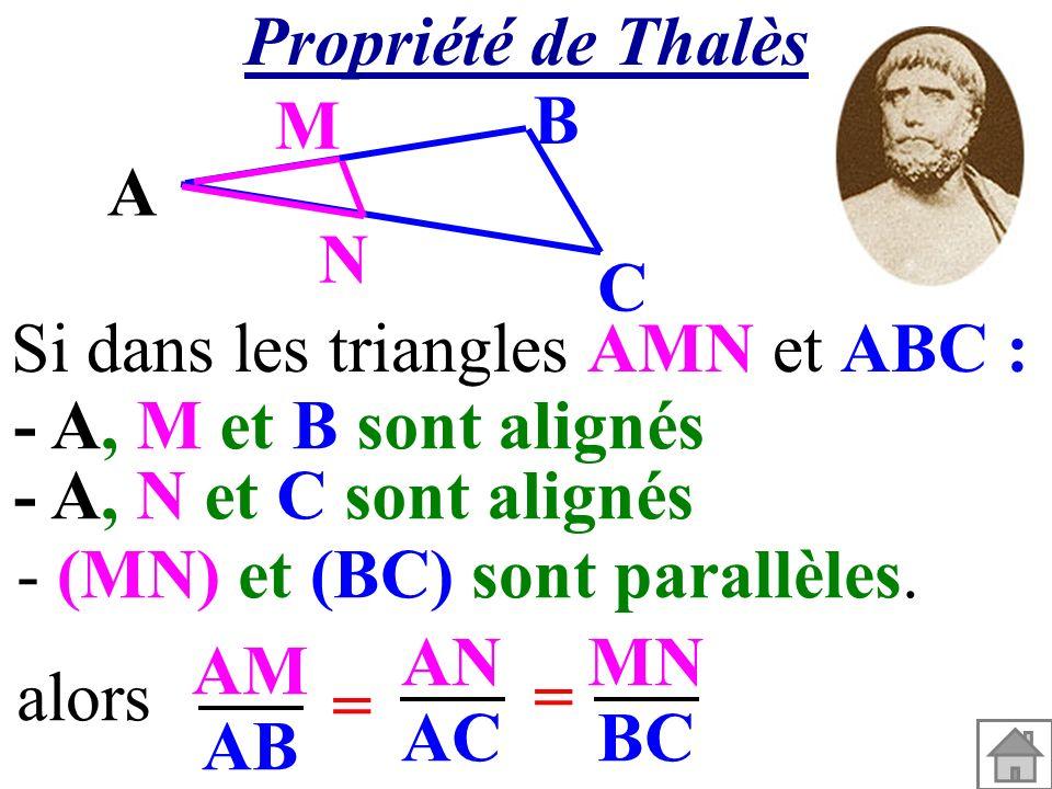 A M N C B Si dans les triangles AMN et ABC : AM AB AN AC alors= = MN BC - (MN) et (BC) sont parallèles. - A, M et B sont alignés - A, N et C sont alig