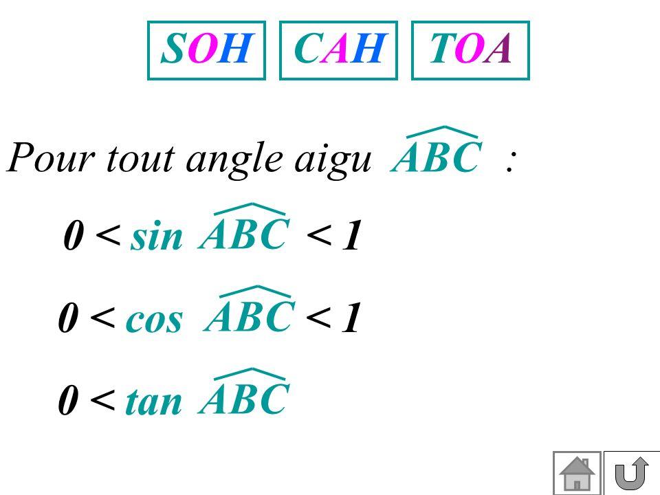 SOHSOHCAHCAHTOATOA Pour tout angle aigu : ABC 0 < sin < 1 ABC 0 < tan ABC 0 < cos < 1 ABC