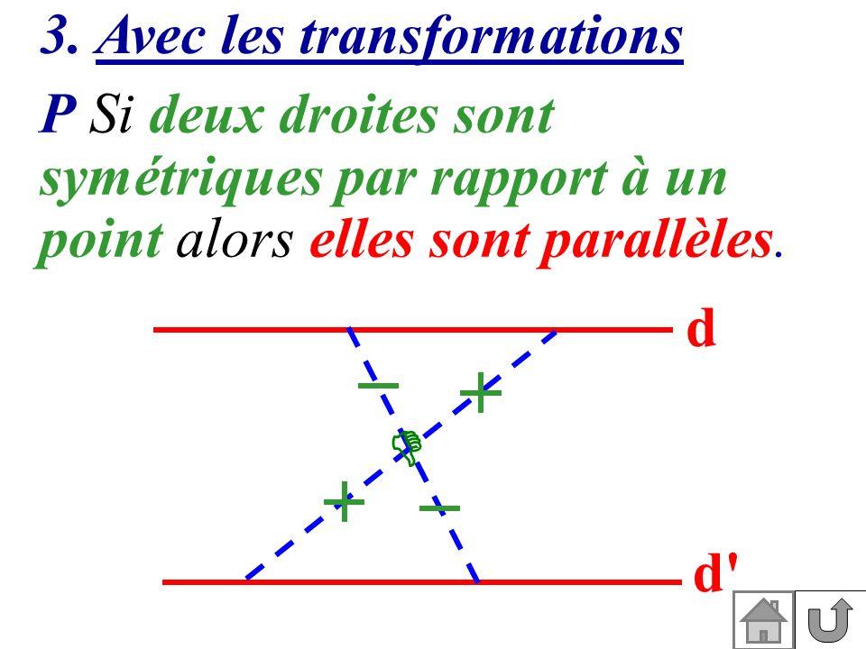 3. Avec les transformations P Si deux droites sont symétriques par rapport à un point alors elles sont parallèles. d d'