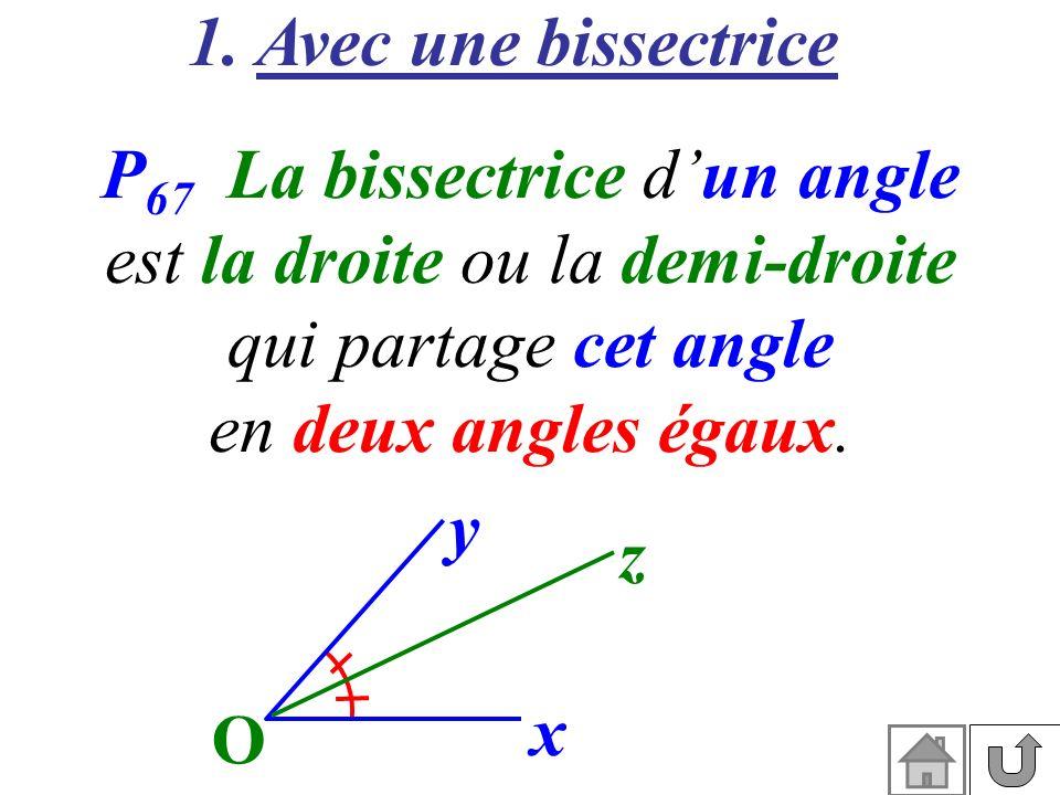 1. Avec une bissectrice P 67 La bissectrice dun angle est la droite ou la demi-droite qui partage cet angle en deux angles égaux. x O y z
