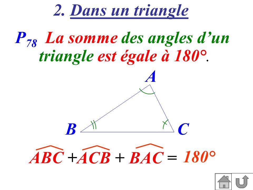 2. Dans un triangle P 78 La somme des angles dun triangle est égale à 180°. ABC + ACB +BAC = A BC 180°