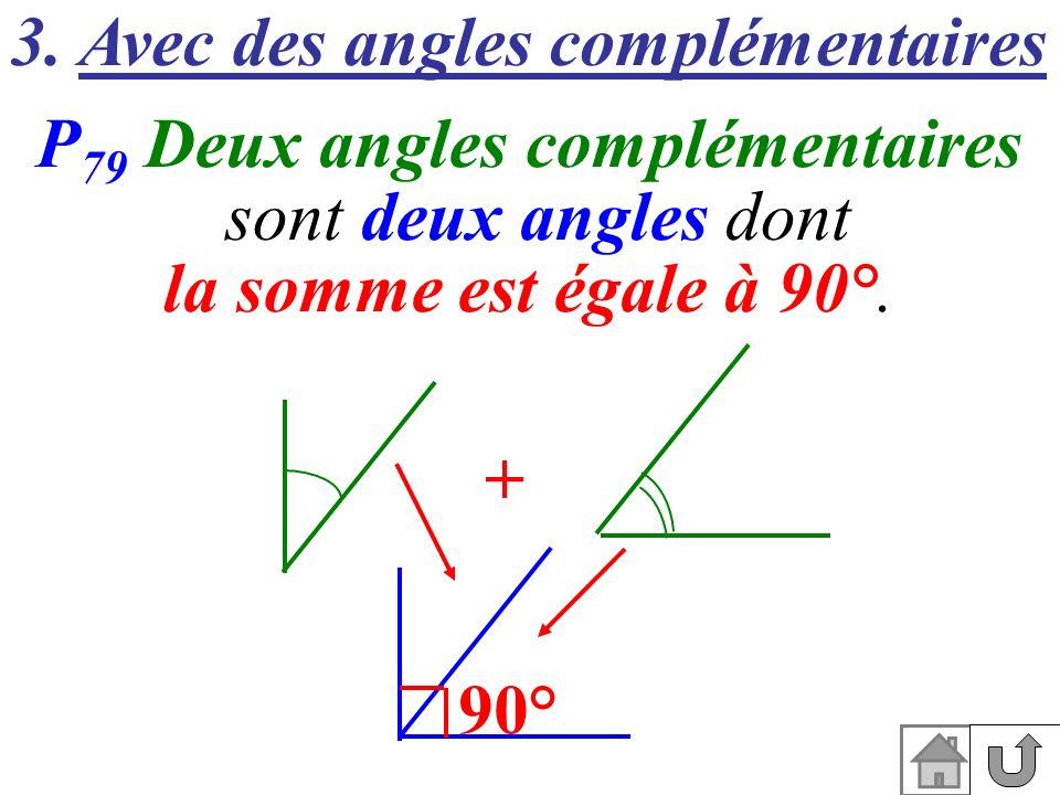 3. Avec des angles complémentaires P 79 Deux angles complémentaires sont deux angles dont la somme est égale à 90°. 90° +