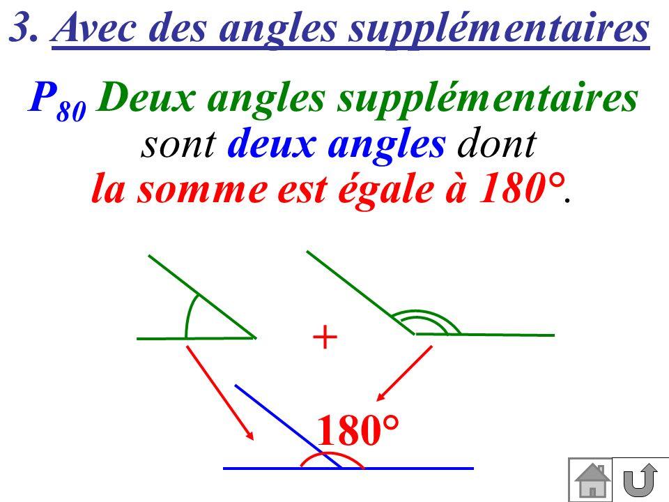 3. Avec des angles supplémentaires P 80 Deux angles supplémentaires sont deux angles dont la somme est égale à 180°. 180° +