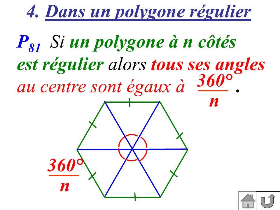 4. Dans un polygone régulier P 81 Si un polygone à n côtés est régulier alors tous ses angles au centre sont égaux à. 360° n 360° n