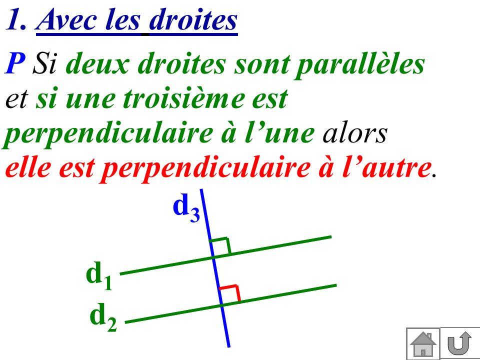 1. Avec les droites P Si deux droites sont parallèles et si une troisième est perpendiculaire à lune alors elle est perpendiculaire à lautre. d1d1 d2d