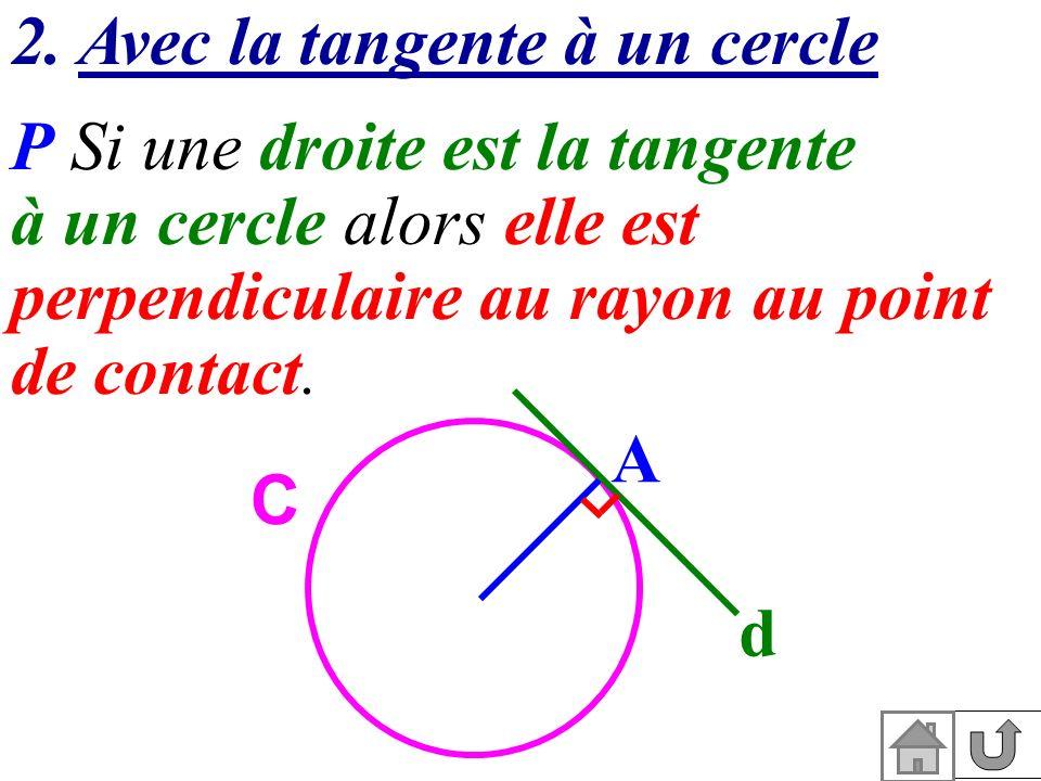 2. Avec la tangente à un cercle P Si une droite est la tangente à un cercle alors elle est perpendiculaire au rayon au point de contact. A O d C