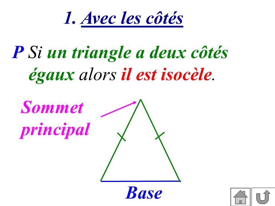 1. Avec les côtés P Si un triangle a deux côtés égaux alors il est isocèle. Sommet principal Base