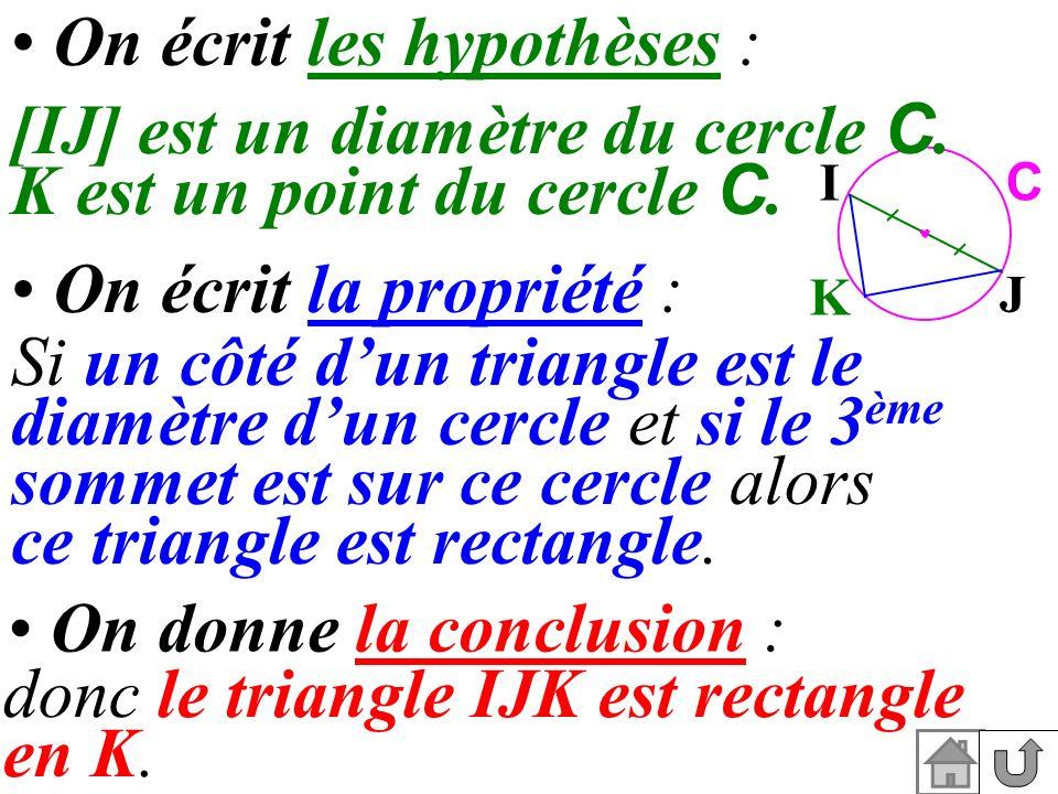 donc le triangle IJK est rectangle en K. K I J C On écrit les hypothèses : [IJ] est un diamètre du cercle C. K est un point du cercle C. On écrit la p