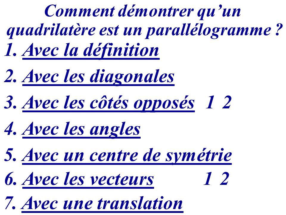Comment démontrer quun quadrilatère est un parallélogramme ? 1. Avec la définition 2. Avec les diagonales 3. Avec les côtés opposés 12 4. Avec les ang
