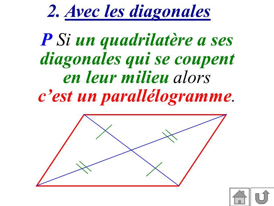 2. Avec les diagonales P Si un quadrilatère a ses diagonales qui se coupent en leur milieu alors cest un parallélogramme.