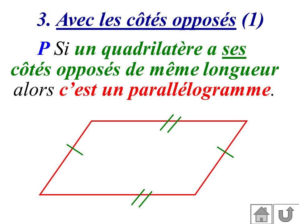 3. Avec les côtés opposés (1) P Si un quadrilatère a ses côtés opposés de même longueur alors cest un parallélogramme.
