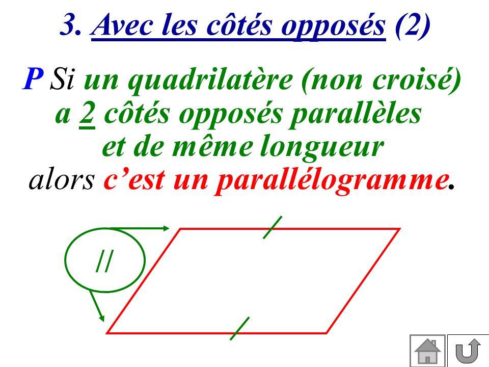 3. Avec les côtés opposés (2) P Si un quadrilatère (non croisé) a 2 côtés opposés parallèles et de même longueur alors cest un parallélogramme. //