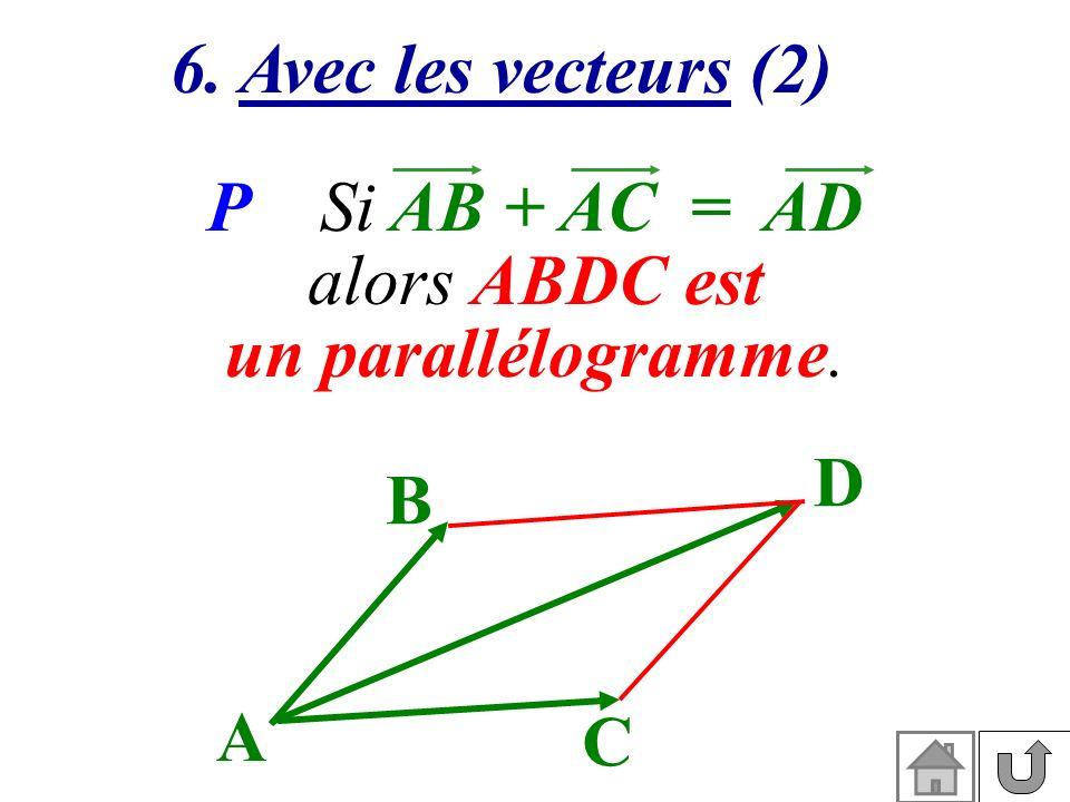 6. Avec les vecteurs (2) P Si AB + AC = AD alors ABDC est un parallélogramme. D C B A