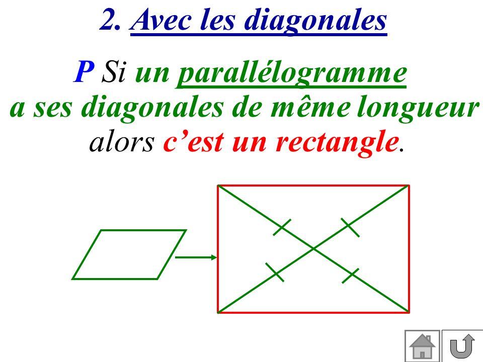 2. Avec les diagonales P Si un parallélogramme a ses diagonales de même longueur alors cest un rectangle.