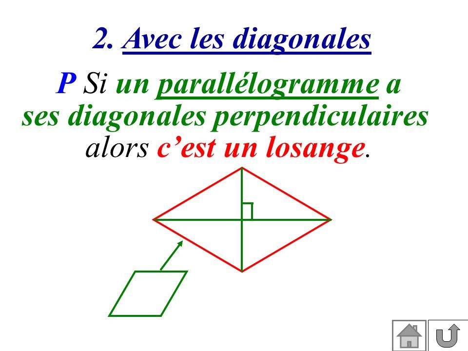 2. Avec les diagonales P Si un parallélogramme a ses diagonales perpendiculaires alors cest un losange.