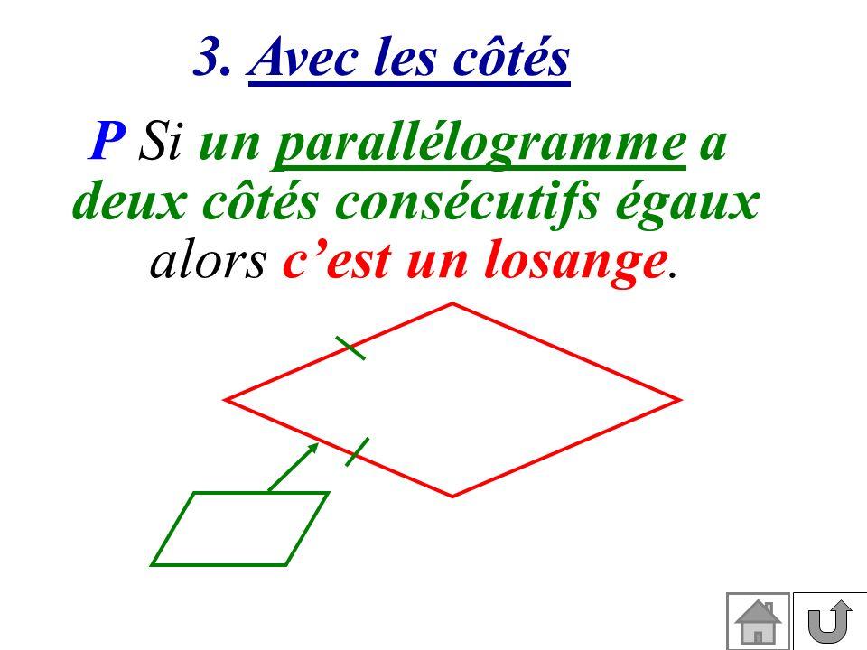 3. Avec les côtés P Si un parallélogramme a deux côtés consécutifs égaux alors cest un losange.