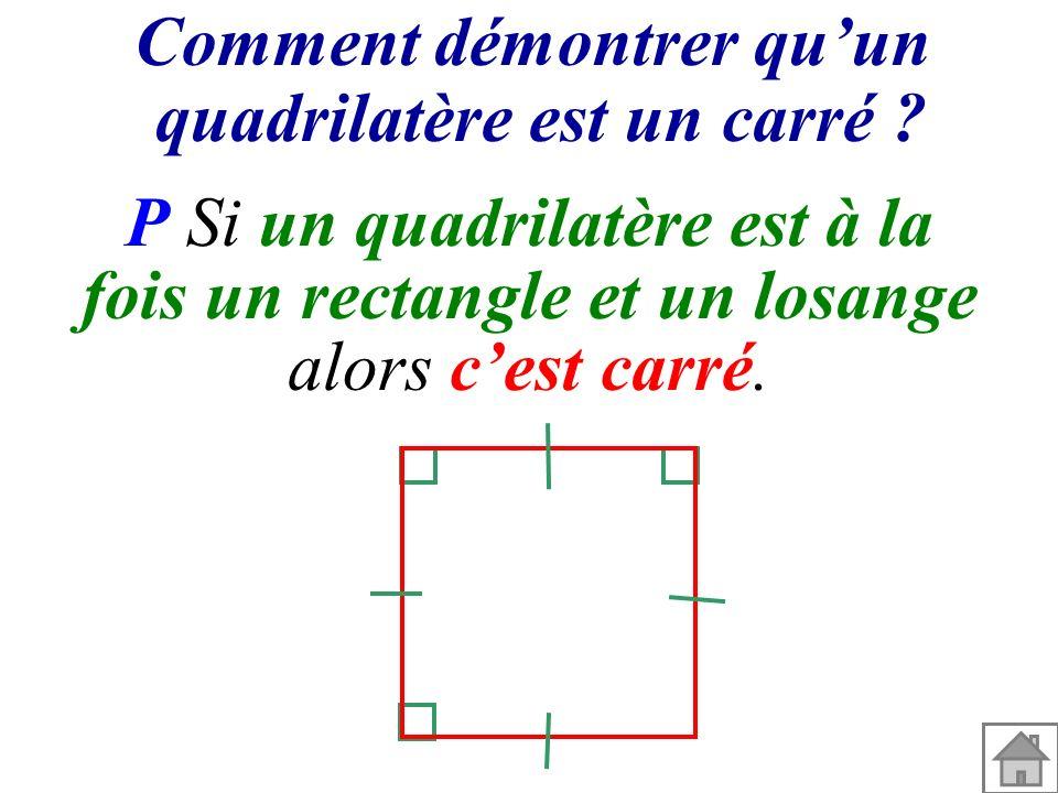Comment démontrer quun quadrilatère est un carré ? P Si un quadrilatère est à la fois un rectangle et un losange alors cest carré.