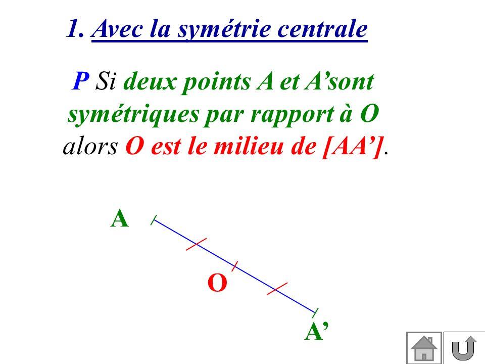 P Si deux points A et Asont symétriques par rapport à O alors O est le milieu de [AA]. A A O 1. Avec la symétrie centrale