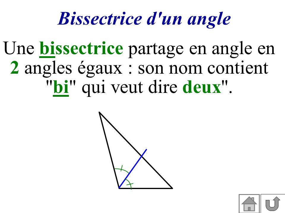 Bissectrice d'un angle Une bissectrice partage en angle en 2 angles égaux : son nom contient