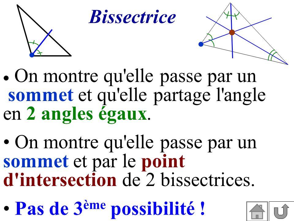 Bissectrice On montre qu'elle passe par un sommet et qu'elle partage l'angle en 2 angles égaux. On montre qu'elle passe par un sommet et par le point