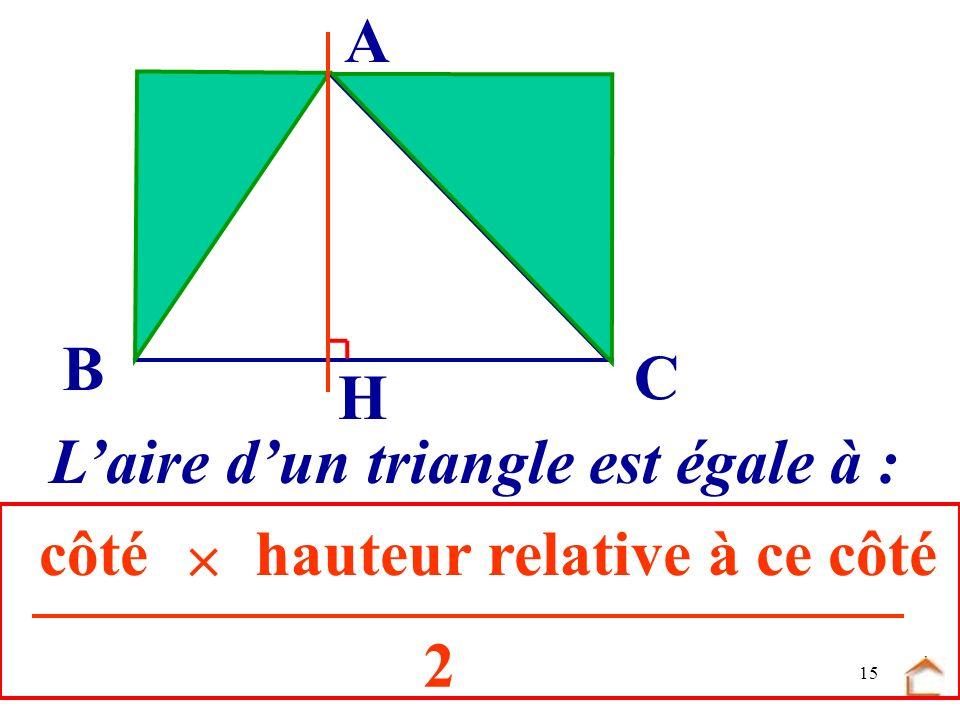 14 B C A............. Laire du triangle ABC est égale à : H BCAH 2