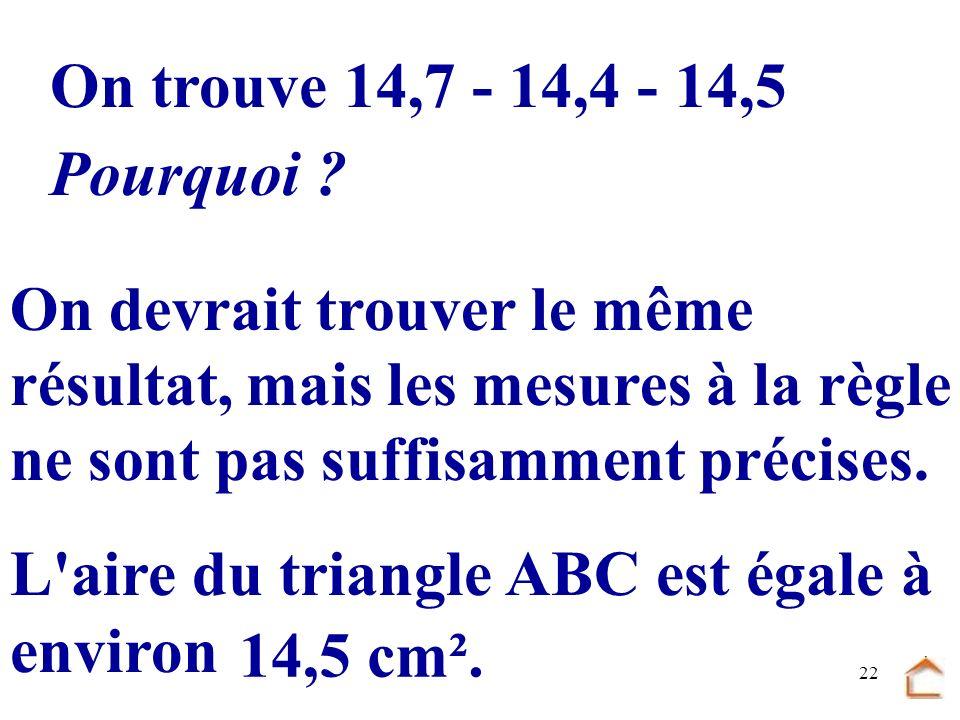 21 B C A H I J AH= 4,2cm BI=4,8cmCJ= 5,8cm.................... ABCJ = 5 2 5,8 = 5 2,9 = 14,5 2